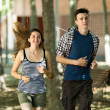 Couple jogging in morning — Stock Photo