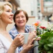 Two women drink tea on balcony — Stock Photo #48987699