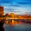 Yachts in Port of Alicante at night — Stock Photo