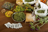 Herbs at table — Stock Photo