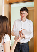Social worker questioning girl — Stock Photo