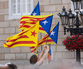 Few flying Catalonia flags   — Stock Photo