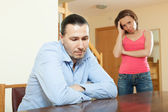 Sad guy and woman during conflict — Stock Photo