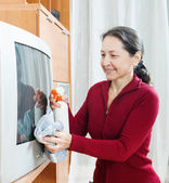 Ordinary mature woman cleaning TV   — Foto Stock