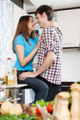 Couple having sex at domestic kitchen — Stock Photo