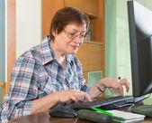 Senior woman using keyboard — ストック写真