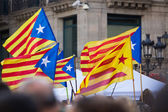 Flying Catalonia flags   — Stock Photo