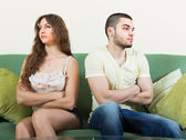 Young couple having conflict at home — Stock Photo