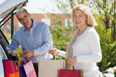 Senior family with bags — Stock Photo