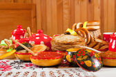 Maslenitsa festival meal  — Stock Photo