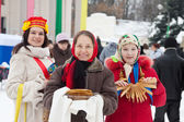 Women in russian traditional clothes — Stock Photo