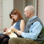Mother breast feeding newborn baby — Stock Photo #48991569