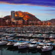 Port of Alicante in dawn. Spain — Stock Photo