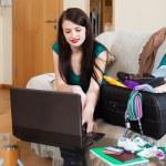 Woman choosing resort at internet — Stock Photo #48992947