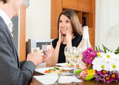 Man giving to girl jewel box — Stock Photo