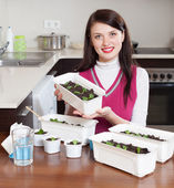 Brunette woman with sprouts — Stock Photo