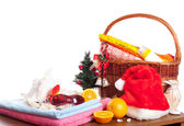 Christmas and beach accessories — Stockfoto