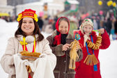 Women celebrating  Maslenitsa festival — Stock Photo