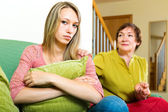 Mother talking to sad daughter — Stock Photo