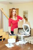 Happy  housewife unpacking new multicooker  — Zdjęcie stockowe