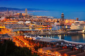 Port in Barcelona during evening. Spain — Photo