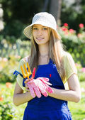 Female gardener in uniform   — Stock Photo