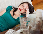 Suffering woman having hangover   — Stock Photo