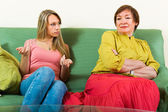 Mother with daughter talking seriously — Stock Photo