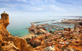 Alicante with docked yachts — Stock Photo