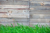 Wooden fence with  grass   — Stock Photo