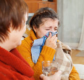 Sick woman with running nose — Stock Photo