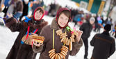 Girl with pancake during Maslenitsa — Stock Photo