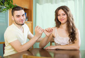 Smiling   couple having accommodation — Stock Photo