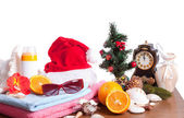 Christmas still life over white — Stockfoto