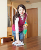 Brunette woman cleaning wooden furniture — Stock Photo