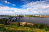Nižnij novgorod s molitovsky most — Stock fotografie