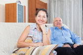 Happy couple grandparents at home — Stock Photo