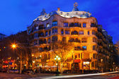 Night view of Casa Mila — Stock Photo