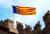 Valencia flag on Lonja de la Seda — Stock Photo