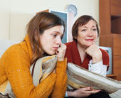 Unhappy mother and crying daughter — Stock Photo
