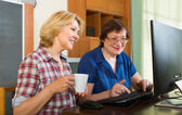 Two mature female  browsing web — Stock Photo