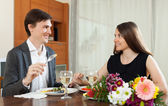 Loving couple romantic dinner — Stock Photo