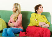 Quarrel of daughter and mother — Stock Photo