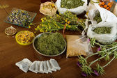 Dried herbs at table   — Stock Photo
