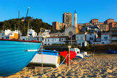 Boats at beach of catalan town. Montgat  — Stock Photo