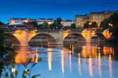 Bridge over Ebro  in evening. — Stock Photo