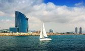 Barcelona from Mediterranean sea  — Stock Photo