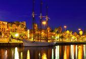 Night shot of  Port Vell. Barcelona, Spain — Stock Photo