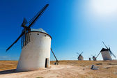 Wide angle shot of windmills in  La Mancha  — Stock Photo