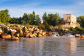 Day view of dam at Ebro river. — Stock Photo
